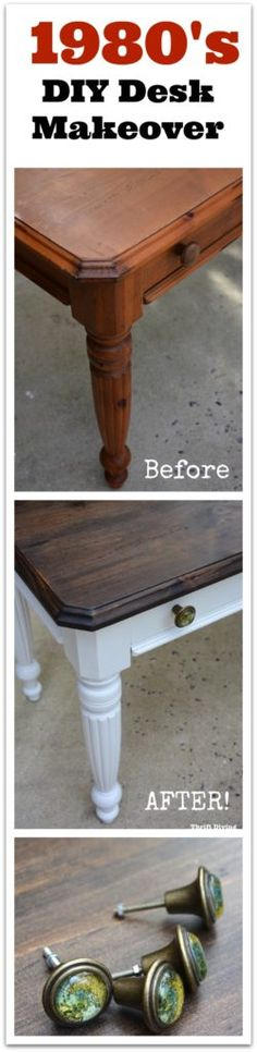 Ugly 1980's orange wood desk from the ReStore gets a makeover with Bright White paint and stain on the top! Watch the video tutorial and get the materials list on the blog! - Thrift Diving
