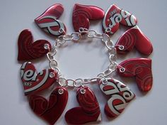 Recycled heart bracelet