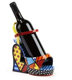 Shop the latest collection of Gift Craft Romero Britto Multi-Pattern Wine Bottle Platform Shoe from the most popular stores - all in one place. Valentines Day Wine, Unique Valentines Day Gifts, Ceramic Teapots, Wine Stoppers, Signature Design, Animals For Kids, Platform Shoes, Craft Gifts, Gifts For Kids