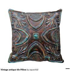 Vintage antique tile Pillow