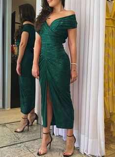 Front Slit Dress, Bodycon Dress With Sleeves, Short Sleeve Dresses, Short Sleeves, Look Body, Evening Dresses, Prom Dresses, Trend Fashion, Latest Fashion