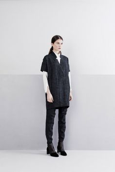 Zero + Maria Cornejo | Pre-Fall 2014 - I love this short sleeved coat. It looks incredibly comfy. The whole look is a more relaxed, modern take on a suit. Really adorable.