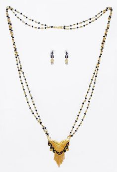 Black and Golden Bead Gold Plated Mangalsutra with Earrings (Stone and Metal)) Stone Earrings, Indian Jewelry, Plating, Beads, Metal, Gold, Beading, Bead, Metals