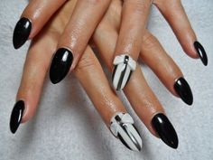 33 Nail Art Ideas - im usually not into the pointy nail trend that's going on now, but I actually like these black nails