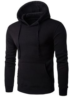 Buy Kangaroo Pocket Drawstring Flocking Pullover Hoodie - Black - 3349920814 online, fidn many other Men's Hoodies & Sweatshirts Mens Zip Up Hoodies, Plain Hoodies, Men's Hoodies, Mens Sweatshirts, Cheap Fashion, Mens Fashion, Fashion Edgy, Urban Fashion, High Fashion