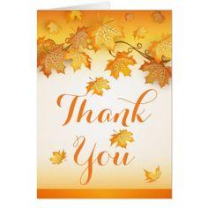 #Fall Orange Thank You Autumn Leaves Wedding Card - #country #wedding #celebration #beautiful