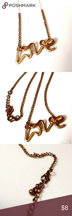 Love Pendent Necklace To cute goldtone Love Pendent Necklace Jewelry Necklaces