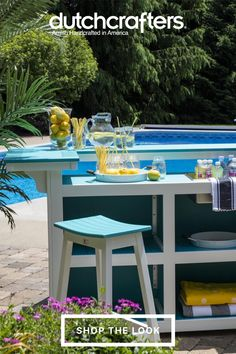 If you enjoy entertaining outdoors, the Berlin Gardens Poly Island Bar Set with the Saddle Stools is perfect for your home. Complete with four spacious storage compartments, the island bar provides plenty of space for all drink and food items. Easily serve up drinks to your guests and never worry about having to keep the bar and stools under cover due to its weather-proof materials. Outdoor Dining Furniture, Outdoor Decor, Island Bar, Amish Furniture, Storage Compartments, Bar Set, Outdoor Entertaining, Food Items, Stools