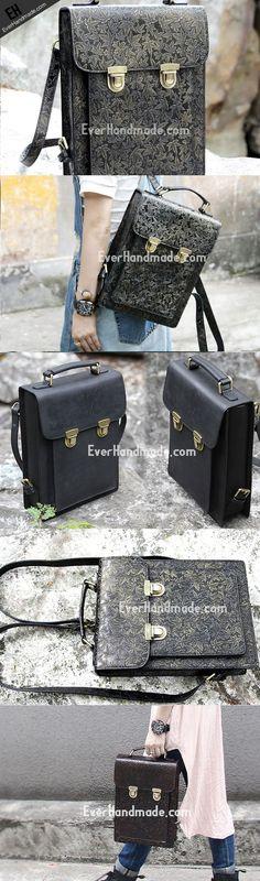 Handmade Leather cute black backpack bag shoulder bag handbag