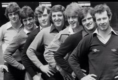 "Seven Irish Players of Arsenal 1980 with their hands on their hips saying ""Hello sailor""."