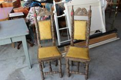 Vintage Yellow Wood Chairs with a High Back up for auction at Rusty by Design Antique Auction Sept. 18 - 22