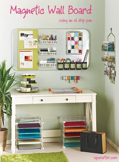 Magnetic wall board using an oil drip pan from Upcrafter.com