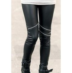Black PU Leather Zipper Leggings Tight Pants Stretch Women's Fashion One Size Ripped Leggings, Faux Leather Leggings, Best Leggings, Black Leggings, Leather Pants, Pu Leather, Comfortable Fashion, Cheap Clothes, Pretty Outfits
