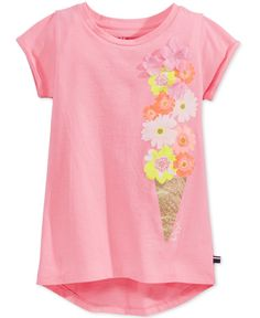 Tommy Hilfiger Girls' Floral Cone High-Low T-Shirt