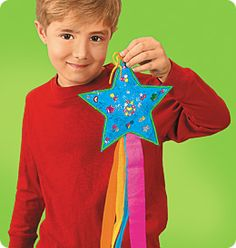 Create a shooting star (without the dowel rod, otherwise it's too similar to a wand).  Attach part of a toilet paper tube on the back for the child to hold on while they wave the shooting star. Add tissue paper streamers and/or ribbon, and lots of sparkle!