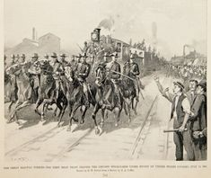 """The Great Railway Strikes--the first meat train leaving the Chicago stock-yards under escort of United States cavalry, July 16, 1894"" This image represents the Pullman Strike (May 11, 1894–c. July 20, 1894), which was a widespread railroad strike and boycott that severely disrupted rail traffic in the Midwest of the United States. The federal government's response to the unrest marked the first time that an injunction was used to break a strike... Artist: G.W. Peters"