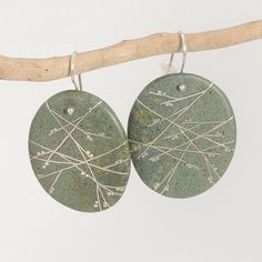 """Earrings, Kebyar Haru Drops, Beach stone with Sterling Silver Inlay, 2.25"""" long, 2"""" wide - Andrea Williams - $180.00"""