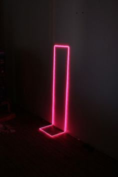 It'd be cool if we could get a neon rectangle to hang on the wall, and people could take photos inside of it, like it would be the frame around them. Owen Schmit. Untitled (pink), 2007 Electroluminescent wire