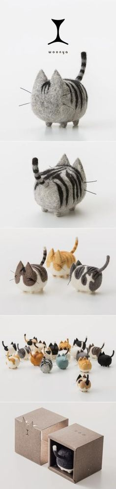 woonya/ 猫/cat/羊毛フェルト/Needle/Felting/mascot/doll/home/style/products/art/design by aida
