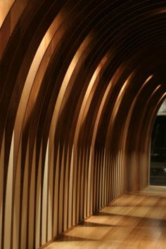 backlit arched wood - what is not to love The Cave Restaurant Interior Partition