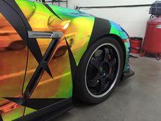 Nissan GTR - Full Wrap Rainbow Chrome with Matte Black Design