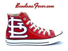 "Bandana Fever - Converse Hi Red ""Cardinals"" by Bandana Fever, $164.99 (http://www.bandanafever.com/converse-hi-red-cardinals-by-bandana-fever/)"