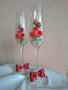 Купить бокалы свадебные - ярко-красный, свадьба, свадебные аксессуары, бокалы…