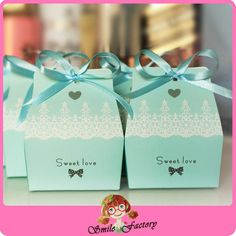 100 PCs Sweet Love Cute Ribbon Wedding Favor Candy Boxes Gift Box for Wedding