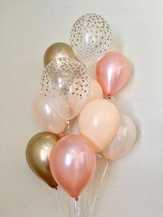 Rose Gold Peach Blush Chrome Gold & Clear Gold Confetti Latex Balloons~Wedding~Bridal Shower~First Birthday~Fall Balloons~Bachelorette~Blush Gold First Birthday, Gold Birthday Party, Gold Party, 65th Birthday, Rose Gold Balloons, Wedding Balloons, Birthday Balloons, Birthday Goals, Birthday Ideas