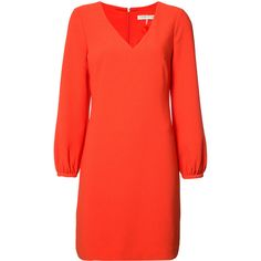 Trina Turk puffed sleeve dress (340 CAD) ❤ liked on Polyvore featuring dresses, red, puff shoulder dress, red dress, trina turk, puffy sleeve dress and red puff sleeve dress