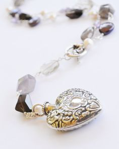 Heart Perfume Bottle Pendant Rosary Necklace with by Pampermousse, $128.00