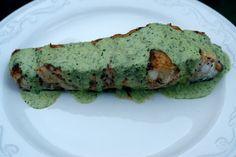 Grilled wild sturgeon recipe with lime cilantro sauce