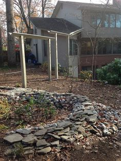 A rain garden installed utilizing the RainScapes Rewards Rebate program. This rain garden uses an aqueduct to get water from the roof top to the garden. Yard Drain, Water From Air, Rain Barrel, Rainwater Harvesting, Water Resources, Water Conservation, Hydroponics, Exterior, Design
