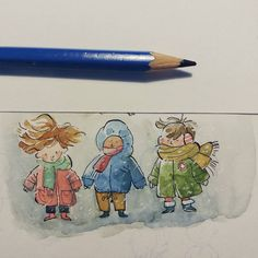 Bundle up. It's cold out #illustration #watercolor #ink #watercolor #kids #cute #middlekidcantbreath