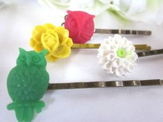 Hair Bobby Pins Owls Flowers Accessories