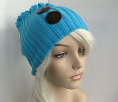 Coconut Shell Button Winter Hat Sweater Neck Warmer Cowl Upcycled Circle Infinity Scarf or Stretch Headband Teal Blue Women's Fall Fashion