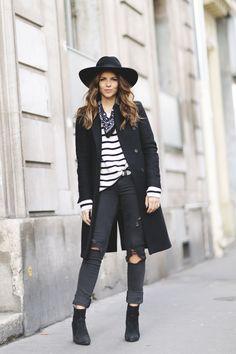 Trendy Taste - Stripe it Abrigo/Coat: Zara (Old) Jersey/Sweater: Pull&Bear (New) Jeans: Diesel via Asos (New) Botines/Boots: Revolve Clothing (New) Bandana: Levi´s (New) Sombrero/Hat: Goorin Bros (New) Bolso/Bag: Nat&Nin via Sarenza.es Pendientes/Earrings: Koketta (New)