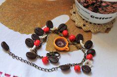 Jewelry braselet / Coffee beans / Handmade / Polymer clay #Handmade #Chain