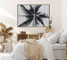 Canvas with monochrome palm tree image, £96 (sale price) from Beach Lane Art at notonthehighstreet.com affiliate partner Tree Wall Art, Framed Wall Art, Wall Art Prints, Tree Bedroom, Bedroom Decor, Shadow Frame, Shadow Box, Palm Tree Images, Tree Canvas