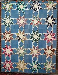 """1930s Vintage """"Flying Swallows"""" quilt, rare design.  french72 at ebay"""