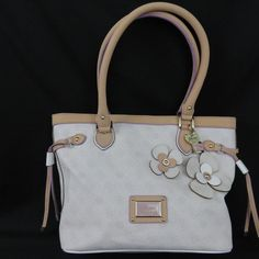 COLOR: Chalk- white, tan with lilac leather straps and trim, gold-tone hardware. EXTRAS: Guess charm and lock. CONDITION=Very gently pre-owned: There are a few rub marks on the leather in the center front (see photo #12 ) and the back of the bag has a slight very very light blue tinge when held to a certain light (unable to even catch in a photo-attempt in photo #11). | eBay!