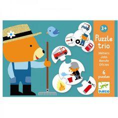 Erstes Trio Lernpuzzle rund Berufe von Djeco für Kinder ab 3 Jahren - lohnende Bonuspunkte sammeln, Kauf auf Rechnung, DHL Blitzlieferung!
