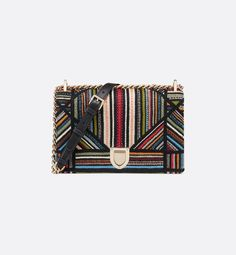 Diorama canvas bag with a large 'Cannage' motif embroidered with multi-coloured stripes. Dior Diorama Bag, Christian Dior, Embroidered Bag, Small Crossbody Bag, Beautiful Hands, Fashion Addict, Fendi, Kate Spade, Stripes