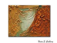 Abstract Textured Painting on Canvas Orange Original