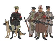 Just some more concepts for the upcoming comic! These chaps seem fairly well equipped. Some still wear their imperial uniforms and equipment; Military Diorama, Military Art, Military History, Ww2 Uniforms, Military Uniforms, Character Art, Character Design, Bolshevik Revolution, Russian Revolution