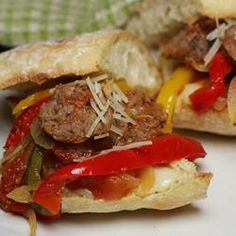 Johnsonville® Italian Sausage and Pepper Skillet Recipe - Allrecipes.com - I served it on ciabatta bread with provolone and parmesan cheese ++