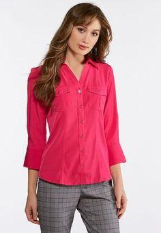 3b3dd293a131b7 Plus Size Double Pocket Button Down Shirt Shirts   Amp   Blouses Cato  Fashions