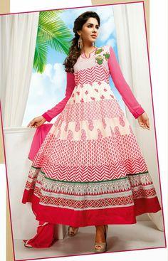 USD 53.62 Pink Cotton Floral Patch Printed Long Anarkali Suit  33877