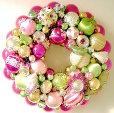 Vintage Christmas Ornaments Wreath Lime Green & Pink