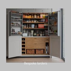 Bespoke kitchen larders Our made to measure larders are a wonderful storage solution for every kitchen. Small Kitchen Pantry, Kitchen Larder, Kitchen Pantry Design, Kitchen Pantry Cabinets, Modern Kitchen Cabinets, Kitchen Tops, Interior Design Kitchen, Diy Kitchen, Home Decor Kitchen